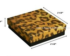 """200 Leopard Cotton Filled Jewelry Packaging Gift Boxes 3 1/2"""" x 3 1/2"""" x 1"""""""