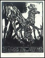 Robert Konig X2 Exlibris 1986 Bookplate Horse Pferd Animals Pets Alma Petz s26