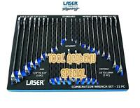 LASER TOOLS CHROME VANADIUM COMBINATION SPANNER SET IN FOAM 32 PIECE