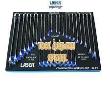 Laser Tools Cromo Vanadio Llaves Combinadas Conjunto en Espuma 32 Piezas