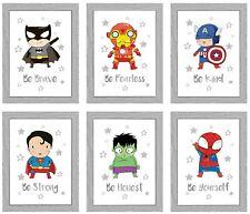 Impresión de cotización de Superhéroe Niños Niños Dormitorio Decoración De Cumpleaños Regalo A4 Imprime