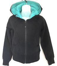 Lululemon Scuba Hoodie Womens Size 4 Black Aqua Warm Sweatshirt Athletic Jacket