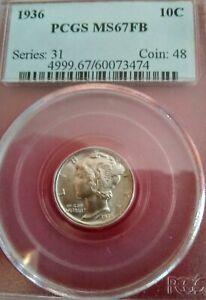 1936 MS-67 Full Bands Mercury Dime PCGS Graded