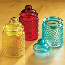6 PC Glass Bright Colors Jars Tight Lids AMBER RED BLUE Food Cotton Balls NEW!!