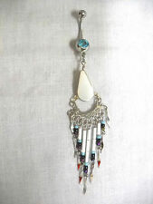 WHITE AGATE DROP & DANGLING TASSELS w SEED BEADS TURQUOISE BLUE GEM BELLY RING