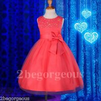 Sequins Beads Occasion Dress Wedding Flower Girl Bridesmaid Size 18m-8y FG257