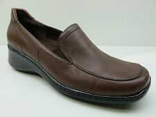 Naturalizer Brown Leather High Heel Wedge Loafers 7M 7 NEW MSRP $89