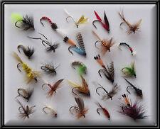 25 assortiti mosche pesca alla trota a mano tyed FLY Asciutto Bagnato Ninfa Mulinello Canna per linea BN