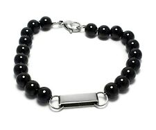 Mens Stainless Steel ID Tag Bracelet Black Bead Ball Beaded Link Fashion Jewelry