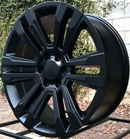 22 inch RW 2017 2018 Denali Wheels for Chevy Silverado 1500 Satin Black Rims Set