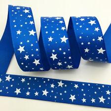 "Hot~5 yds 1"" 25mm Printed Five-pointed Star Grosgrain Ribbon Hair Bow DIY Blue"