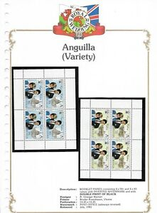 JULY/1981 2 X BOOKLET PANES MINT ANGUILLA VARIETY ROYAL WEDDING STAMPS