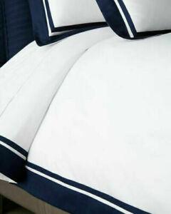 Ralph Lauren Home Bowery KING Duvet Cover White Polo Navy Border MSRP $470 NEW