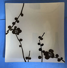 "12"" HAIKU Platter, Square Glass Plate, Modern Japanese Floral Contemporary"