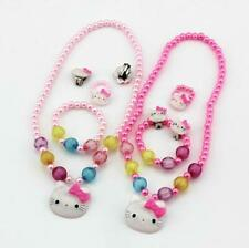 Set For Girls Kitty Imitation Pearl Bracelet Ring Clip On Ears Necklace