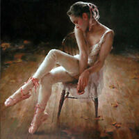 ZWPT689 sitting on chair ballet girl 100% hand painted art oil painting canvas