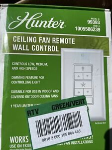 Universal Damp Rated Ceiling Fan Wall Remote Control Whiteby by Hunter