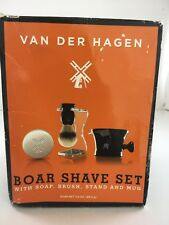 New Van Der Hagen Boar Shave Set with Soap, Brush, Stand, and Mug-NR.