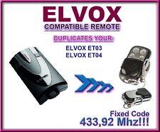 Elvox Et03, Elvox Et04 compatible remote control, Clone transmitter 433,92Mhz!