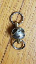 EDC Carabiner Keychain, Key Ring Accessory Brass Pumpkin Skull Bead Silver Color