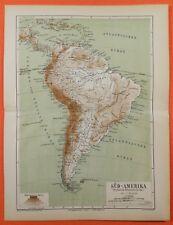 Süd Amerika Flüsse Gebirge Amazonas Anden Brasilien  Lithographie 1874 Landkarte