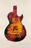 Dean Russo Art Original Artwork on Paper Les Paul Music Guitar Hand Signed