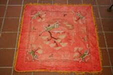 ancien textile soie tissu rouge brodé tigres Vietnam Chine  Chinese embroidery