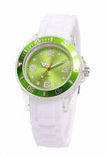 Silikon Armbanduhr Damen Kult Trend Gummi Watch weiß / GRÜN ( F1 )