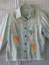 Art-to-Wear Stonewash Chambray Draper&Damon Embroidered~Sequin~Lace Jacket~M~PM