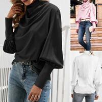 ZANZEA Femme Col roulé Manche bouffante Poignets poignets Simple Haut Shirt Tops