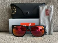 New Ray Ban Justin RB4165 54-16 Unisex Black Frame Red Mirror Sunglasses 622/6Q