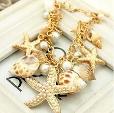 Chunky Ocean Shell Starfish Pearl Gold Statement Bib Multi Bracelets ONE HS65