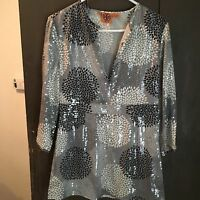 TORY BURCH NWOT SIZE 8 SEQUINED BLACK&WHITE RETRO SILK LEAF PATTERNED TOP