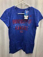 NWT Adidas Women's NCAA Kansas Jayhawks Cap Sleeve Tee Blue Heathered Large