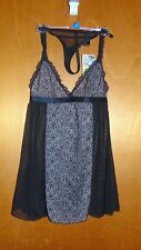 Hoxton Chic Non-Padded Lace Panel Babydoll Chemise & Briefs Set XS 6 Black BNWT