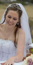 Wedding/Bridal - White Crystal & Bead Edge Veil