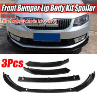 For SKODA Octavia 2015-2019 Glossy Front Bumper Lip Body Kit Spoiler Splitter