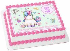 "Princess Unicorn Edible Rectangle Cake Topper Image Birthday Decoration 8x10.5"""