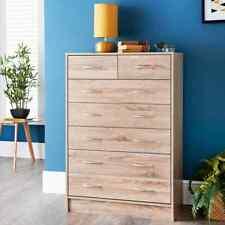 New Lokken 7 Drawer Chest Furniture Solid Pine Wood Waxed Rustic Oak Finish UK