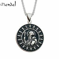 MENDEL Catholic St Saint Benedict Medal Cross Pendant Necklace Stainless Steel