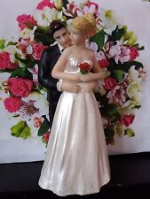Wedding Cake Topper Decoration Blonde Bride and Brunet Groom Personalised