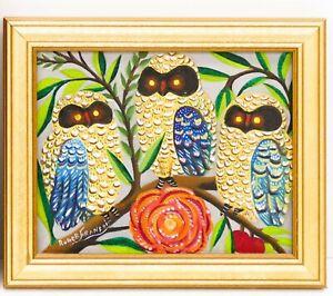 "HAITIAN ART LITTLE BIJOUX PAINTING ROGER FRANCOIS ""3 OWLS"" FOLKART 10""x08"" HAITI"