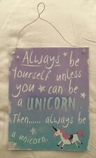 Metal Painted Unicorn Sign. For Child's Bedroom. New No Tag.