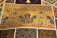 Mosaïque Peinture Ange Moyen Age chromolitho RACINET XIXe déco chambre couloir