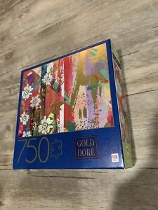 Puzzle 750 Piece Art Gold Dore Abstract Composition Wild Roses Milton Bradley