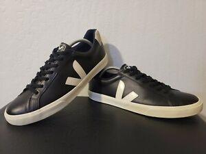 VEJA Esplar Logo Leather Athletic Shoes Men's US Size 11 BLACK/WHITE