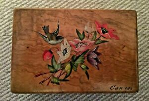 CANNES Vintage Wooden Bridge / Whist Hand Painted Card Box with 2 Whist markers