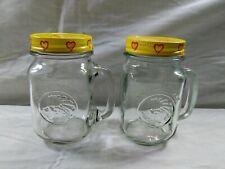 2 Golden Harvest Drinking Jar Mason Mug Glass Handle 16 oz Vintage PA Dutch Lid