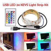 1-3M RGB 5050 USB LED Strip Light 5V TV Back Lamp &24key Remote For TV PC