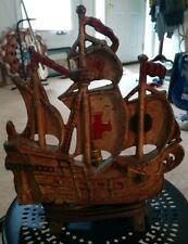 "12"" Cast Iron Sail Boat Ship Electrical Lamp Desk Light Art Decor *WORKS GREAT*"